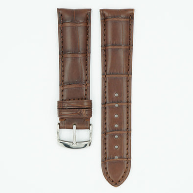 Genuine Alligator Heavy Pad Watch Strap - Brown