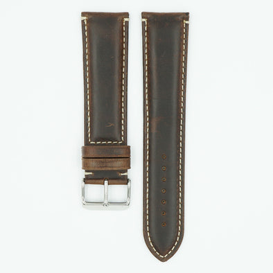 Oil Tanned Brown Long Leather Watch Band