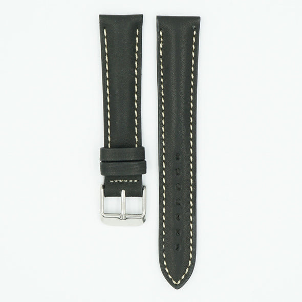 Black Waterproof Leather Watch Strap