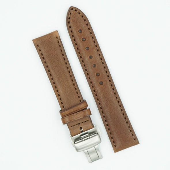 Vegetable Tanned Leather Brown Deployant Watch Band
