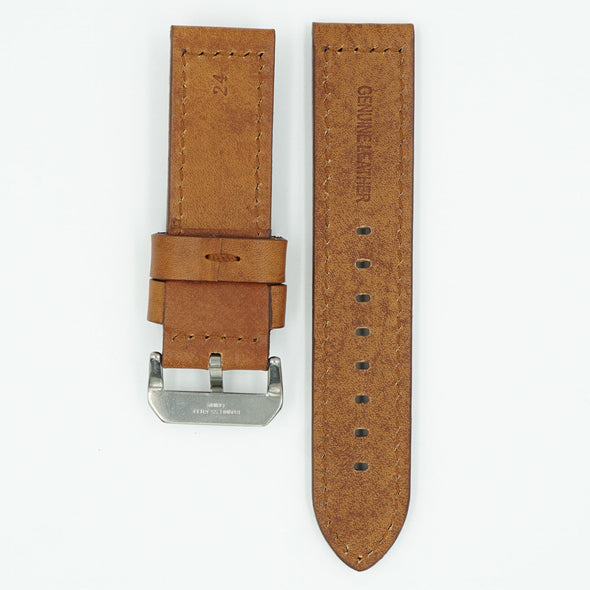Heavy Flat Pad Tan Leather Strap