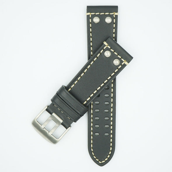 Rivited Leather Field Watch Strap - Black