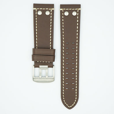 Rivited Leather Field Watch Strap - Brown