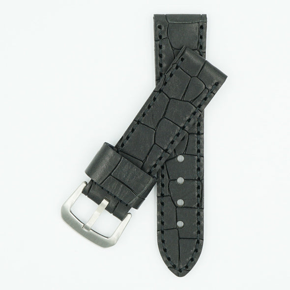 Heavy Oil Tanned Black Leather Watch Band