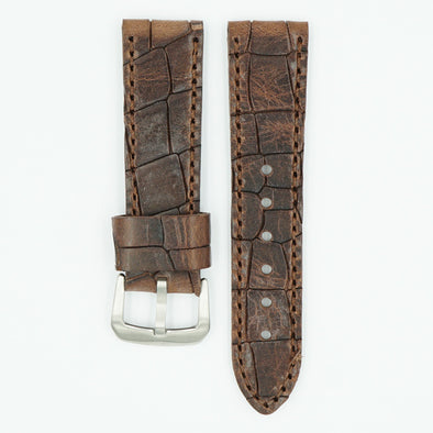 Heavy Oil Tanned Brown Leather Watch Band