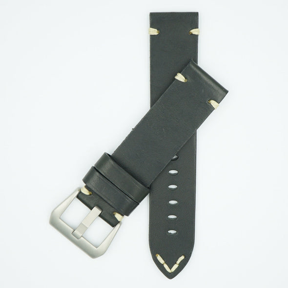 Vintage Heavy Black Leather Watch Strap