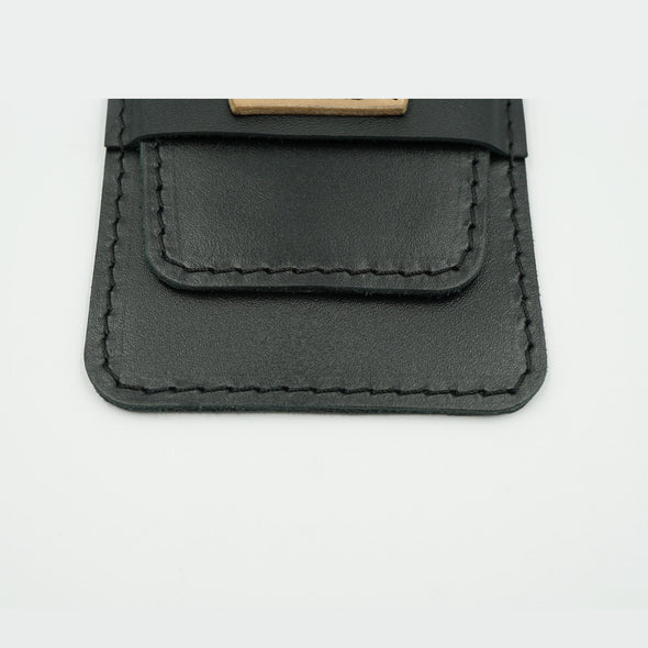 Sleek Black Leather Watch Pouch