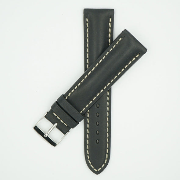 Vintage Black Padded Leather With Ecru Stitch
