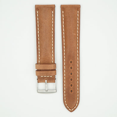 Vintage Brown Padded Leather With Ecru Stitch