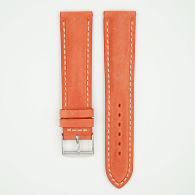 Vintage Salmon Padded Leather With Ecru Stitch