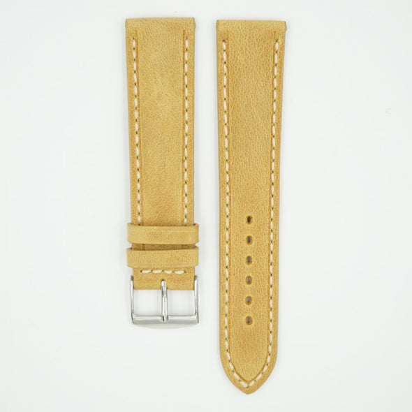 Vintage Sand Padded Leather With Ecru Stitch