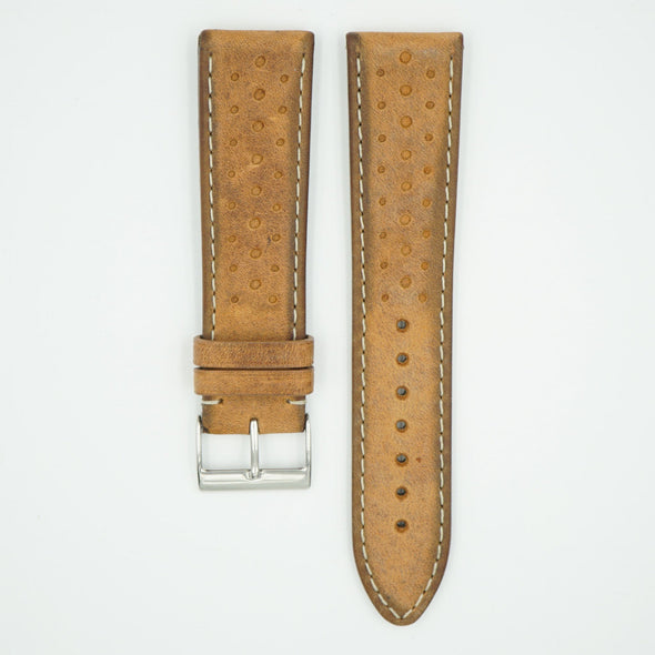 Tan Vintage Racing Leather Watch Strap