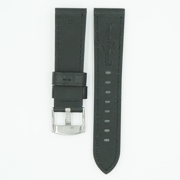 Horween Panerai Style Black Leather Strap