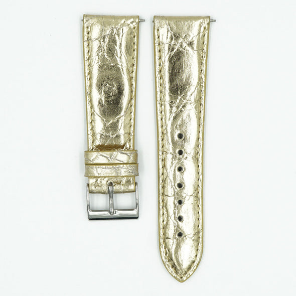 Womens Metallic Crocodile Watch Strap - Gold