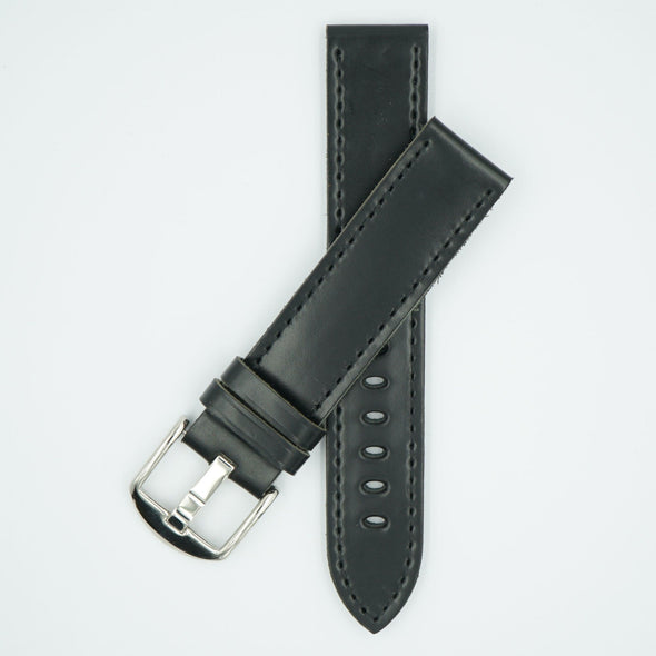 Shell Cordovan Black Leather Fine Watch Strap