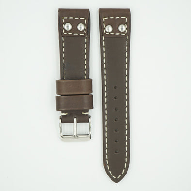 Rivet Pilot Brown Leather Watch Band