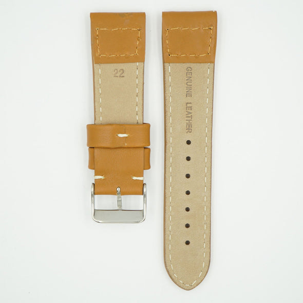 Rivet Pilot Tan Leather Watch Band