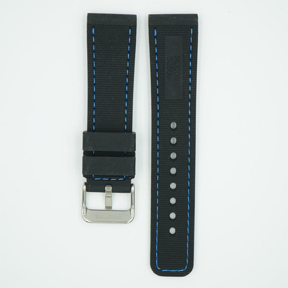 Perforated Silicone Sport Black/Blue Strap