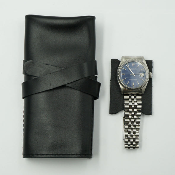 Smooth Black Leather Watch Roll for 3 watches