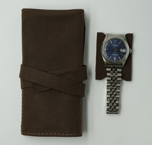 Soft Brown Leather Watch Roll for 3 watches