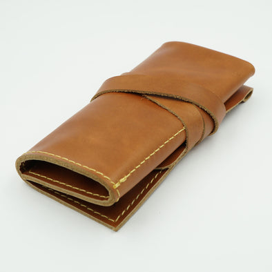 Smooth Tan Leather Watch Roll for 3 watches