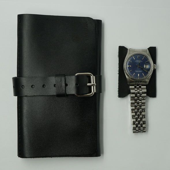 Black Leather Wide Watch Roll for 3 watches