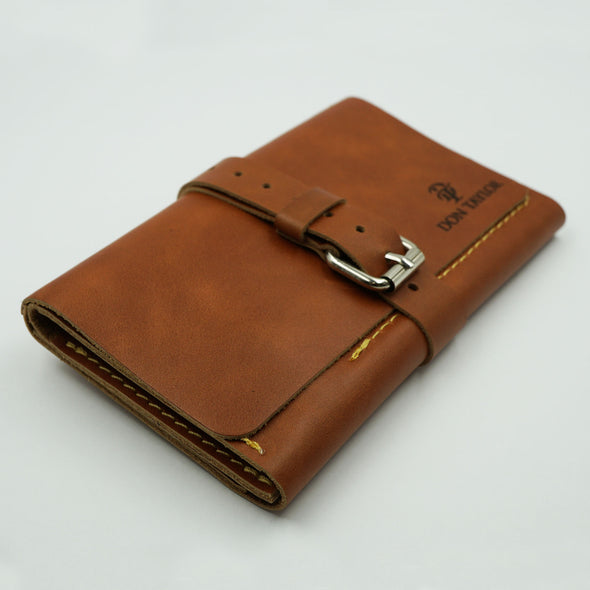Tan Leather Wide Watch Roll for 3 watches