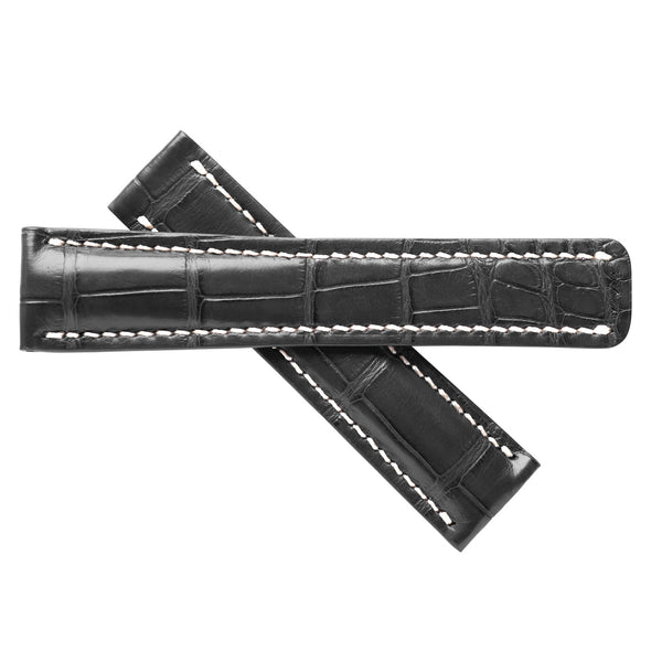 Aero Black Alligator Leather Band For Breitling