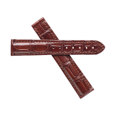 Brown Alligator Leather Band For Omega Deville
