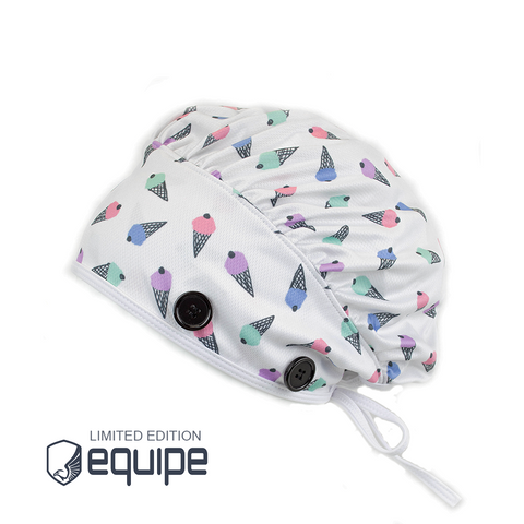 Ear Relief Bouffant Cap (Cone-fetti White)