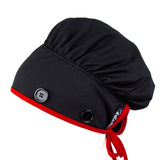 Ear Relief Bouffant Cap (BLACK w/ RED)