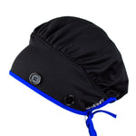 Ear Relief Bouffant Cap (BLACK w/ BLUE)