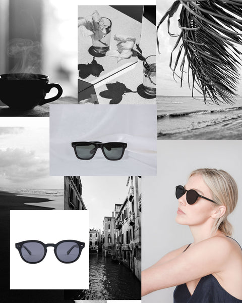 Mari & Clay Sustainable Sunglasses in Black Moodboard. Designed in Australia.