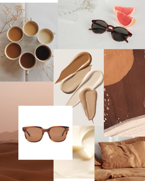 Mari & Clay Sustainable Sunglasses  in Caramel Moodboard. Designed in Australia.