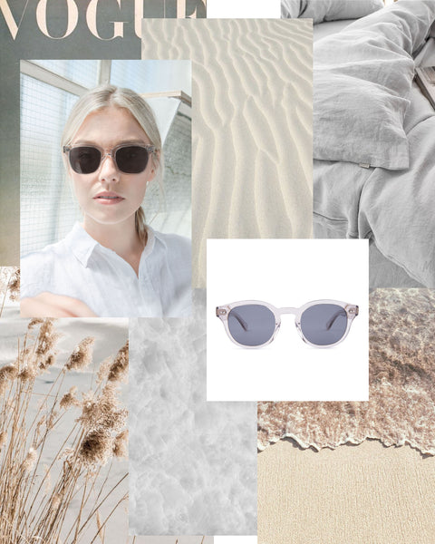 Mari & Clay Sustainable Sunglasses  in transparent sand moodboard. Designed in Australia.