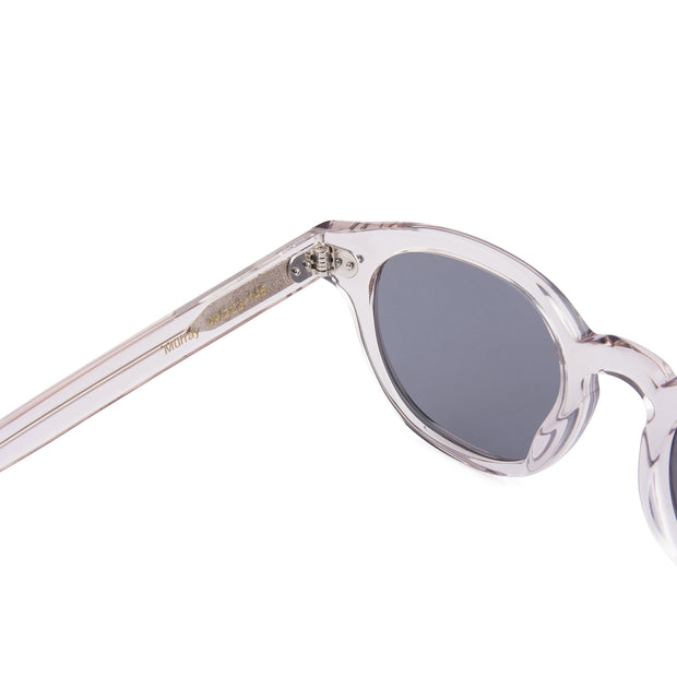 Mari & Clay Sustainable Sunglasses Murray Style in transparent sand colour frames with grey polarized lenses. The design is square shape with rounded corners. Designed in Australia. Crafted from sustainable bio-acetate material.