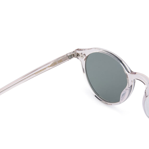 Mari & Clay Sustainable Sunglasses Goulburn Style in transparent sand bio-acetate frame with grey polarized lensesThe Goulburn is a classic round design with thin rims to make it extra light-weight. Designed in Australia.