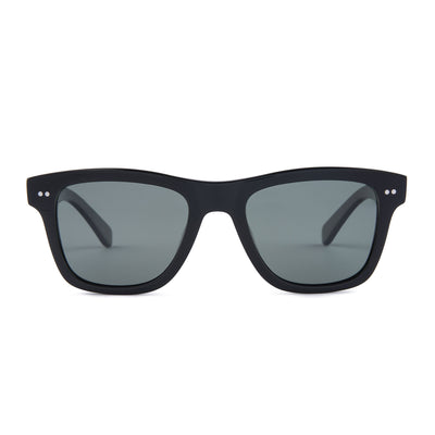 Mari & Clay Sustainable Sunglasses Yarra Style in Black bio-acetate frame with dark green polarized lenses. These sunglasses are trapezoidal shape with thicker arms. Designed in Australia.
