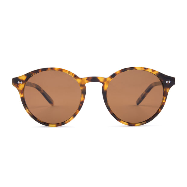 Mari & Clay Sustainable Sunglasses Goulburn Style in tortoise shell bio-acetate frame with brown polarized lenses. The Goulburn is a classic round design with thin rims to make it extra light-weight. Designed in Australia.