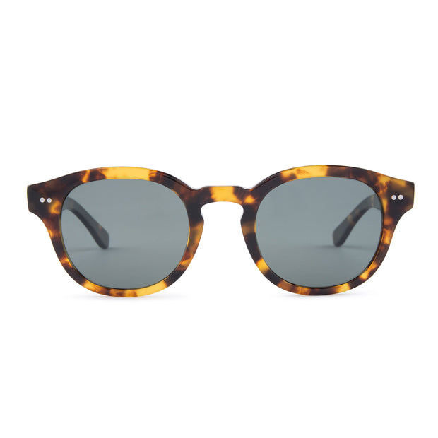 Mari & Clay Sustainable Sunglasses Murray Style in tortoiseshell colour frames with dark-green polarized lenses. The design is square shape with rounded corners. Designed in Australia. Crafted from sustainable bio-acetate material.
