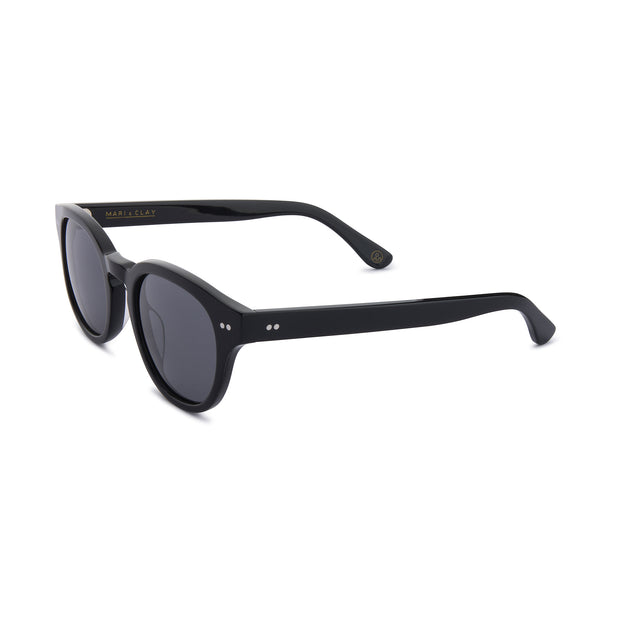 Mari & Clay Sustainable Sunglasses Murray Style in Black frames with grey polarized lenses. The design is square shape with rounded corners. Designed in Australia. Crafted from sustainable bio-acetate material.