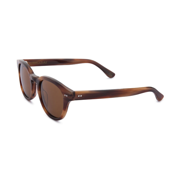 Mari & Clay Sustainable Sunglasses Murray Style in caramel colour frames with brown polarized lenses. The design is square shape with rounded corners. Designed in Australia. Crafted from sustainable bio-acetate material.