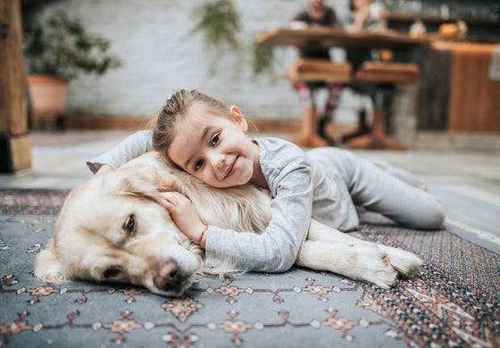 Little girl lying with golden retriever