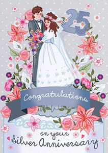 Silver Wedding Anniversary Card - Congratulations on 25 yrs by Angie Spurgeon