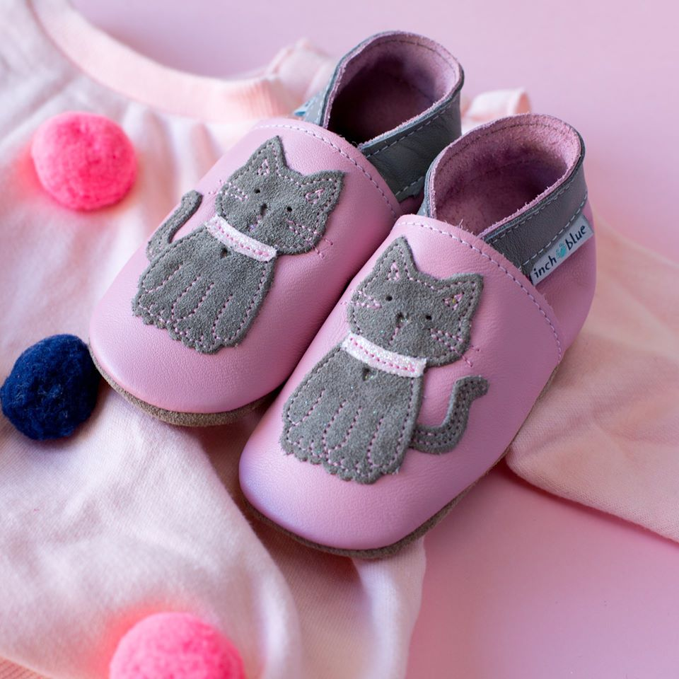 O-6 Months Inch Blue Handmade Leather Baby Shoes