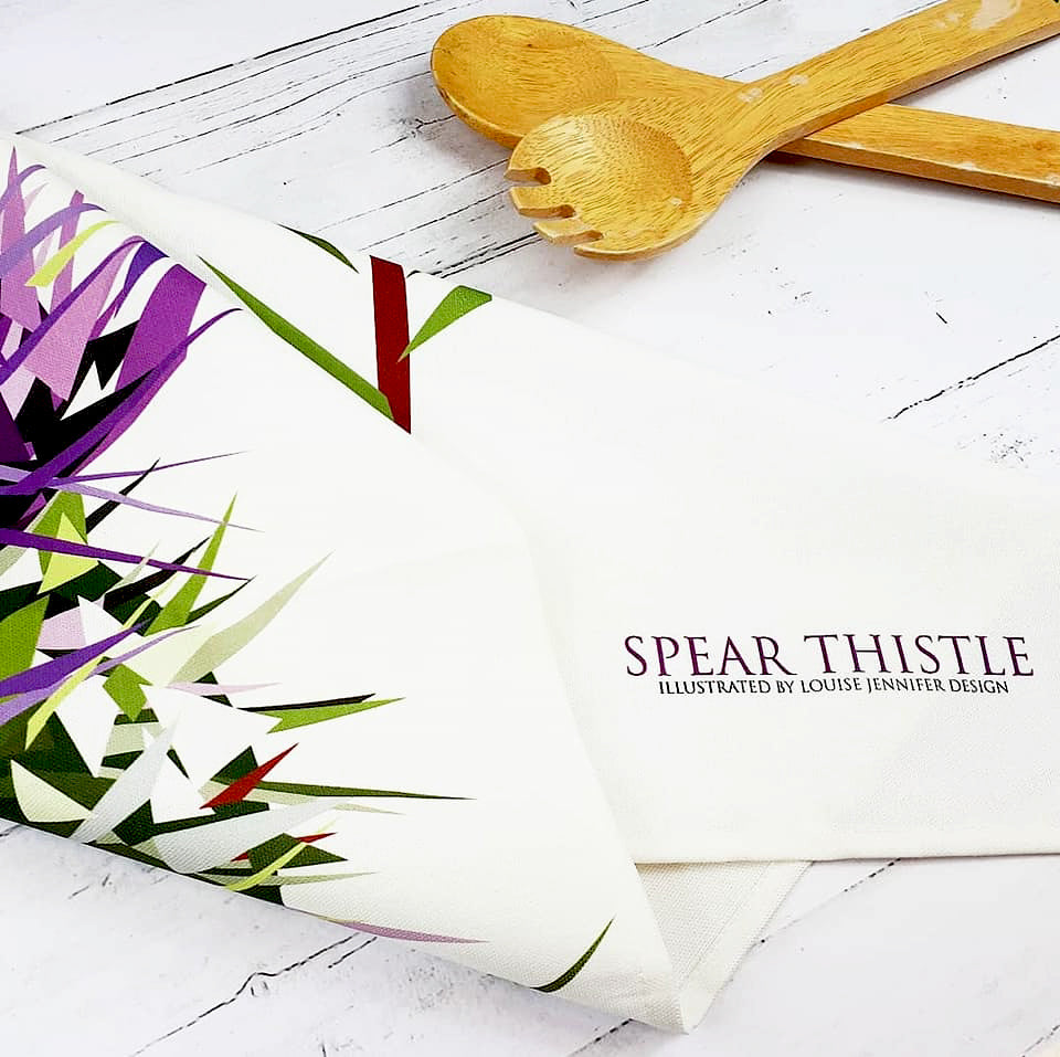 Thistle Tea Towels Illustrated by Louise Jennifer Design