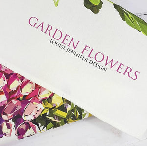 Garden Flowers Tea Towel Illustrated by Louise Jennifer Design