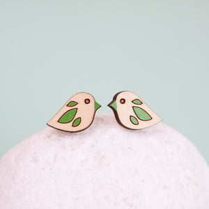Tiny Bird Stud Earrings Made in Scotland by Twiggd