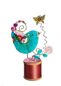 Small Assemblage - Bird on Cotton Reel Handmade by Beastie Assemblage