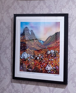XL SQ Framed Print - Elements of the Three Sisters, Glencoe by Artist Andy Peutherer